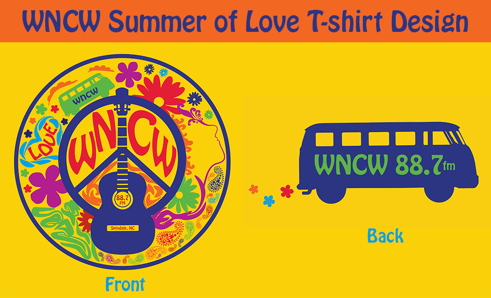 WNCW Summer of Love T-shirt graphics