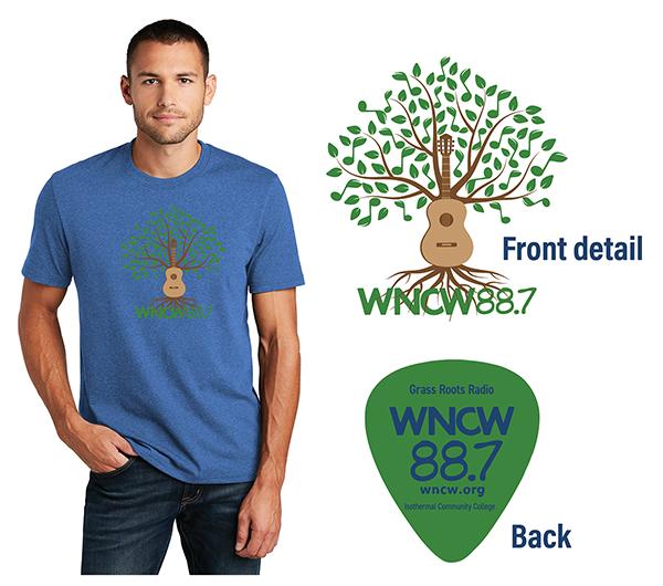 WNCW shirt with guitar tree logo