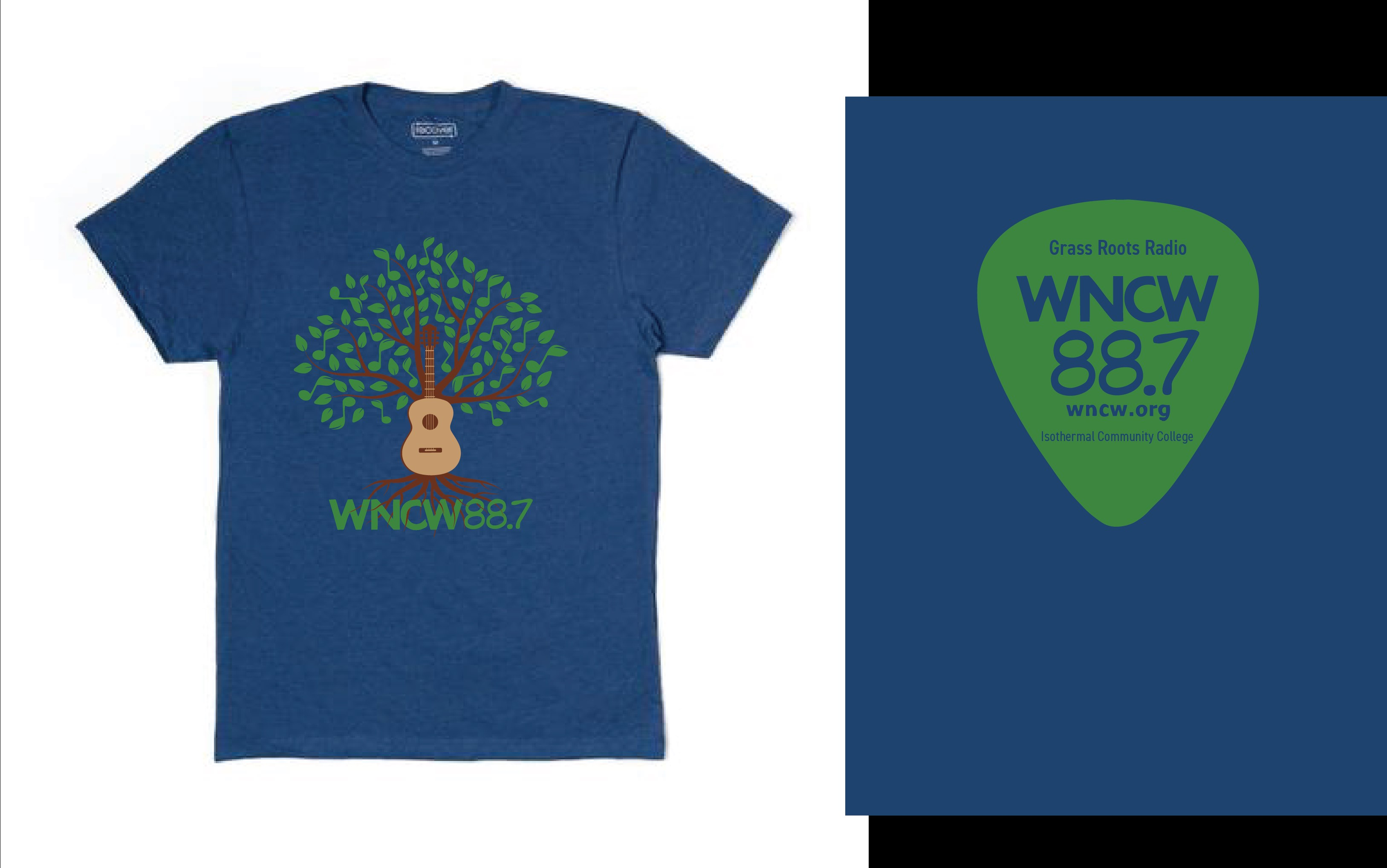 WNCW shirt with guitar tree logo